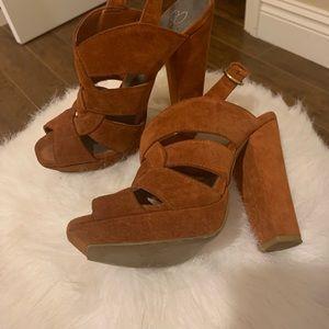 Jessica Simpson cognac suede heels